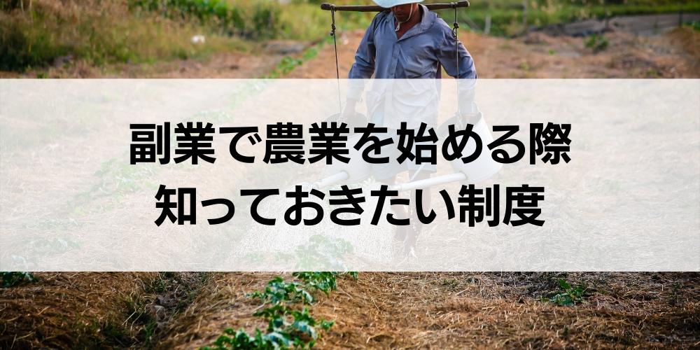 副業で農業を始める際に知っておきたい制度